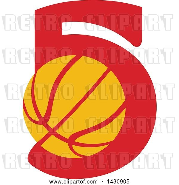 Vector Clip Art of Retro Yellow and Red Basketball in the Number Five