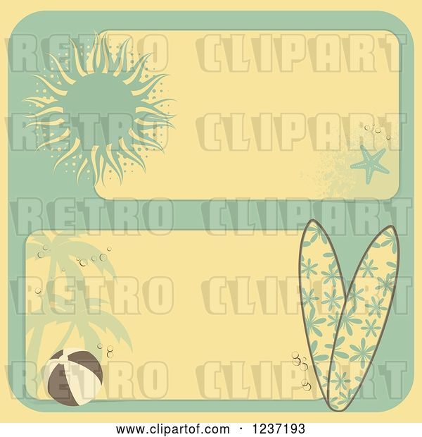 Vector Clip Art of Retro Yellow and Turquoise Summer Beach Borders