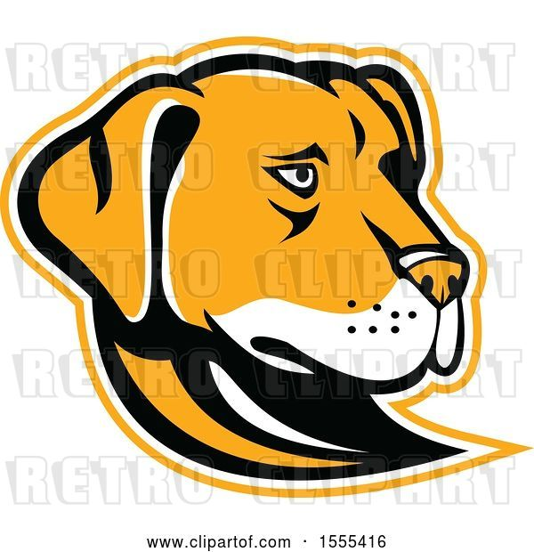 Vector Clip Art of Retro Yellow Labrador Dog Mascot Head