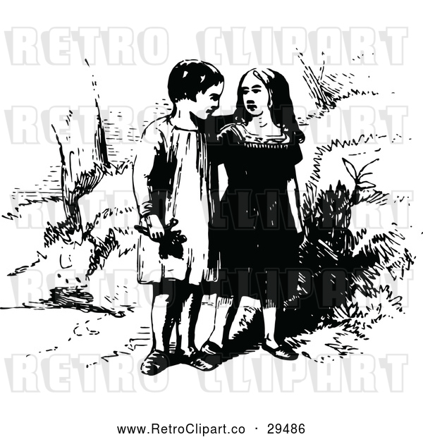 : Vector Clip Art of Retro Young Strolling Couple