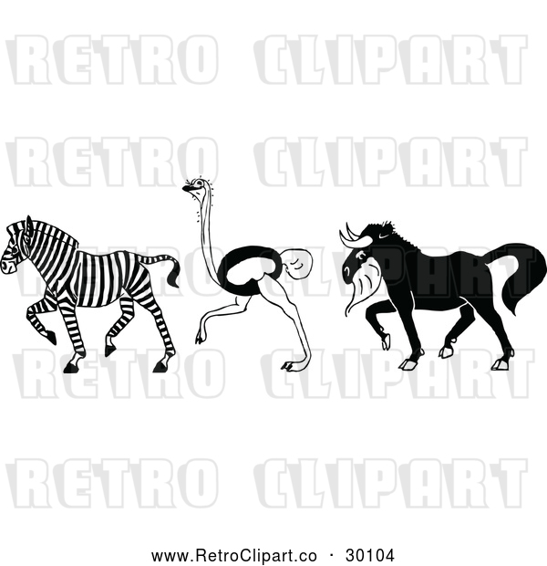 Vector Clip Art of Retro Zebra Ostrich and Horned Beast