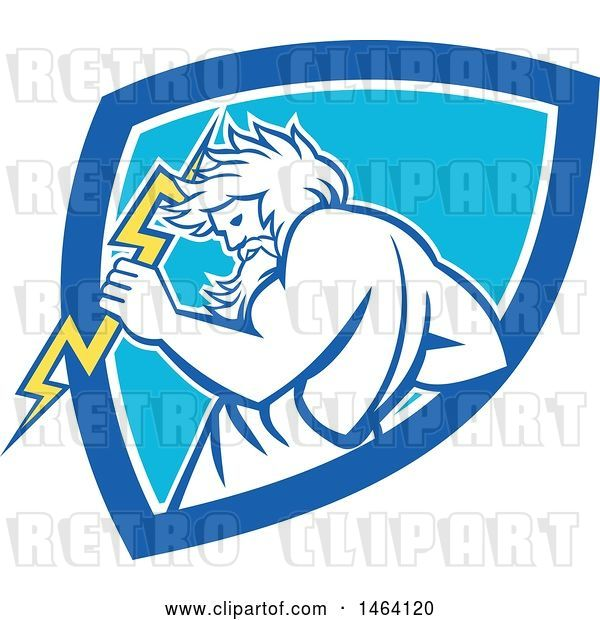 Vector Clip Art of Retro Zeus Holding a Thunder Bolt in a White and Blue Shield