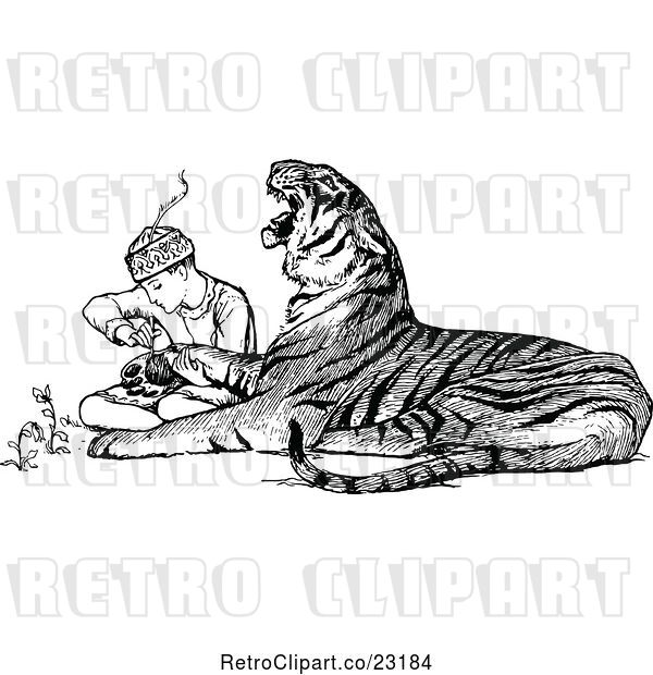 Vector Clip Art of Retro Zookeeper Tending to an Injured Tiger