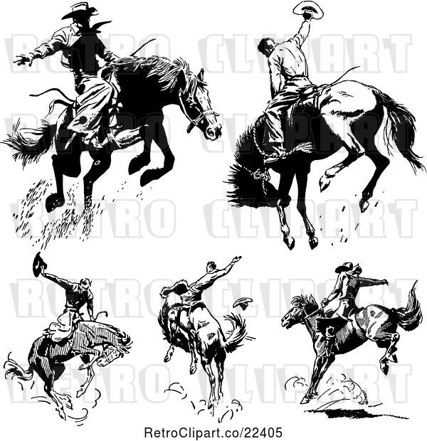 Vector Clip Art of Rodeo Cowboys on Bucking Horses