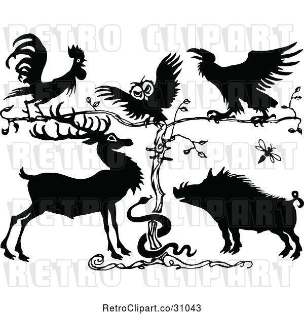 Vector Clip Art of Rooster Owl Crow Deer Snake and Pig by a Tree