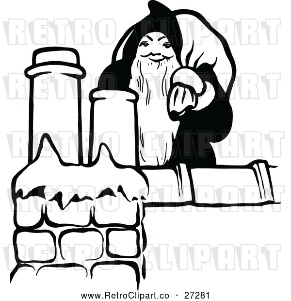 : Vector Clip Art of Santa Claus on Roof Top with Presents