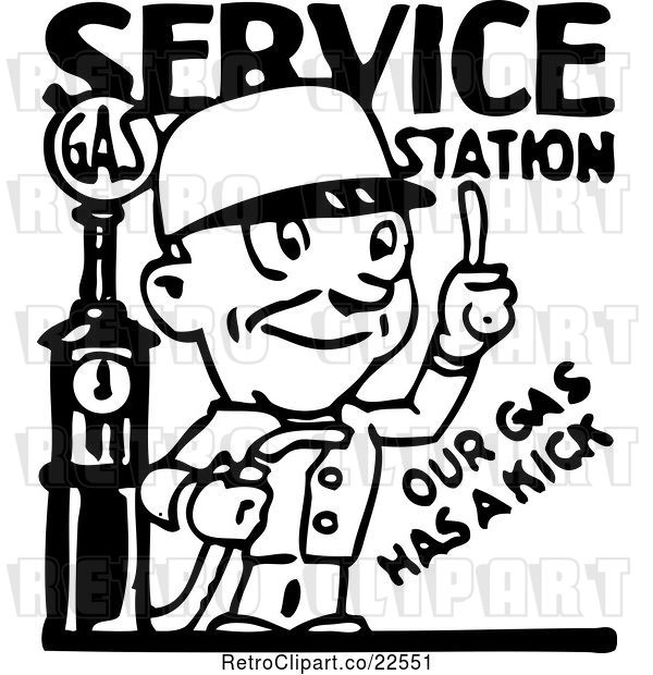 Vector Clip Art of Service Station Gas Attendant