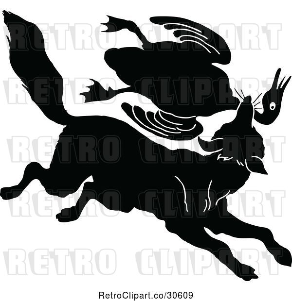 Vector Clip Art of Silhouetted Fox Lattacking a Goose