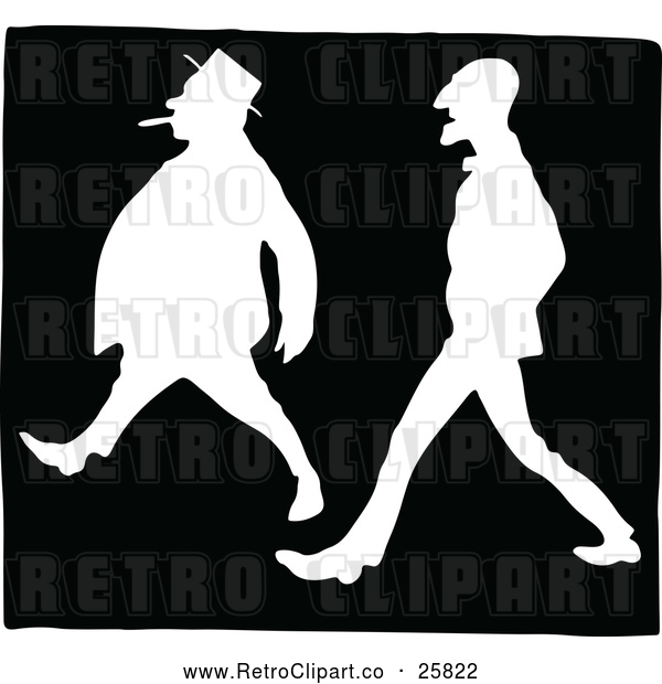 Vector Clip Art of Silhouetted Retro Men Walking Together