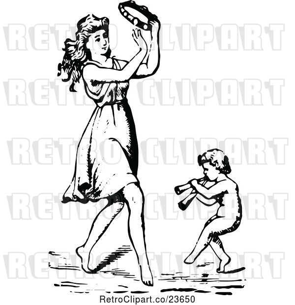 Vector Clip Art of Sketched Lady Playing a Tambourine and Dancing with a Cherub