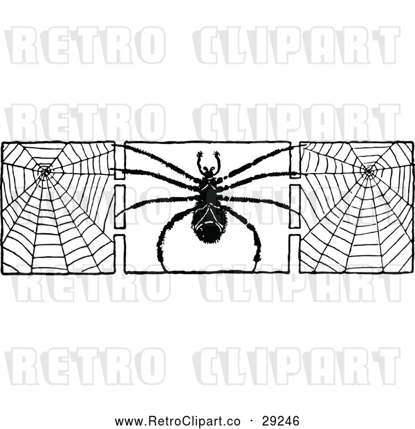 Vector Clip Art of Spider and Webs