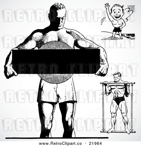 Vector Clipart Black and White Retro Bodybuilders