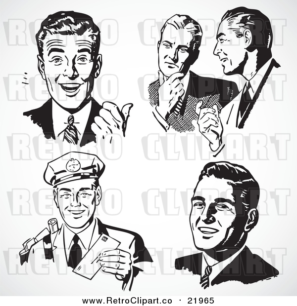 Vector Clipart Five Black and White Retro Business Men
