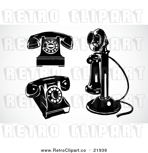 Vector Clipart of 3 Retro Black and White Phones