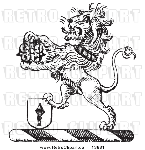 Vector Clipart of a Black and White Lion Crest with a Flower and Shield