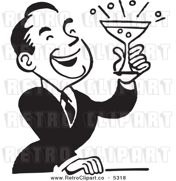 Vector Clipart of a Black and White Retro Man Laughing and Holding a Cocktail