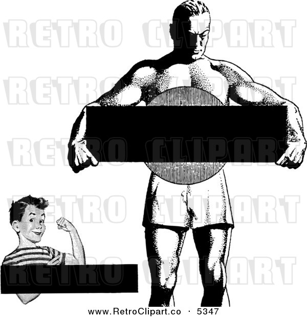 Vector clipart of a black and white retro strong boy and man with