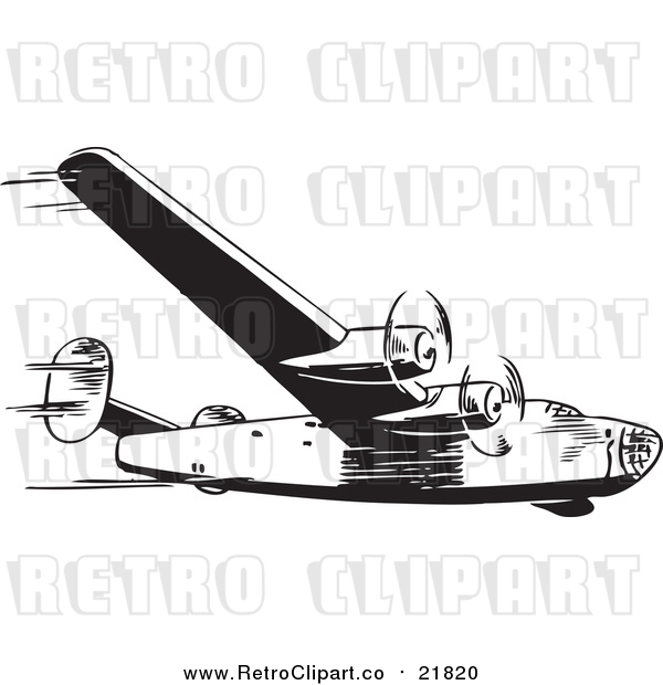 Vector Clipart of a Retro Airplane