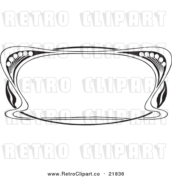 Vector Clipart of a Retro Black and White Art Deco Styled Border