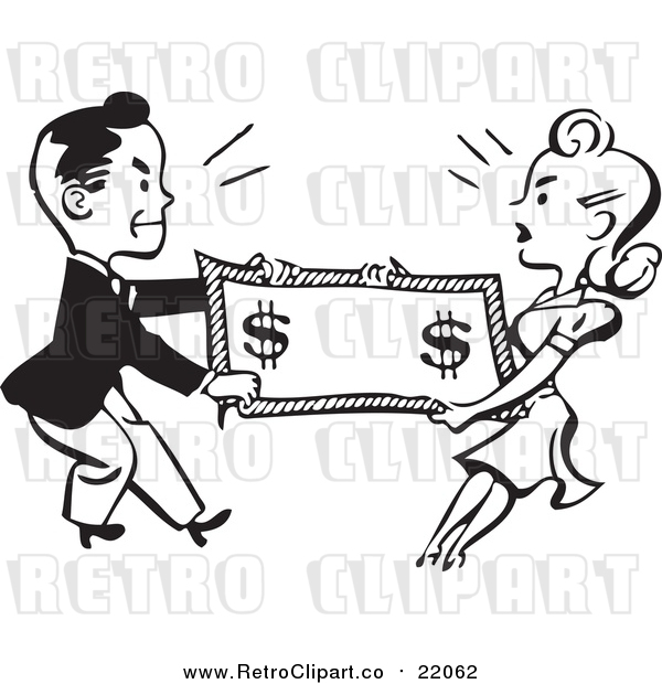 Vector Clipart of a Retro Black and White Man and Woman Fighting over Money