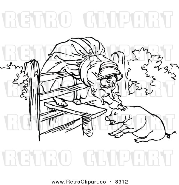 : Vector Clipart of a Retro Black and White Old Woman and Pig