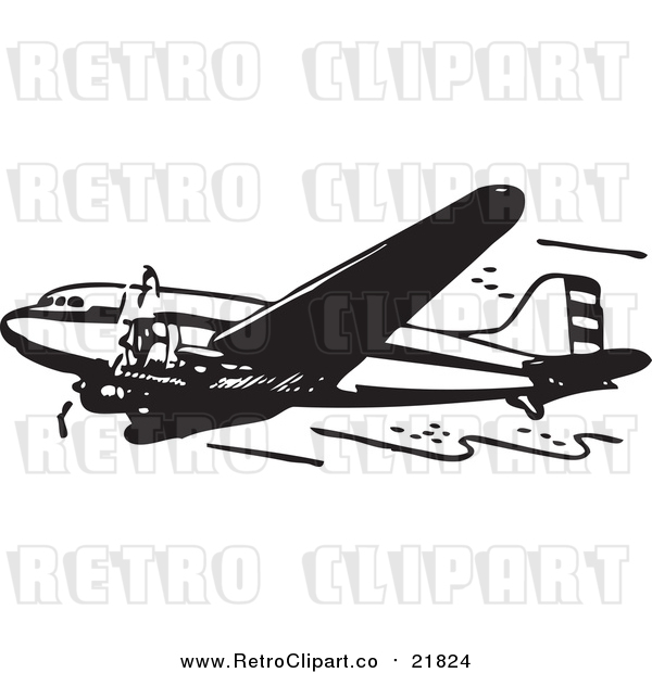 Vector Clipart of a Retro Black and White Plane