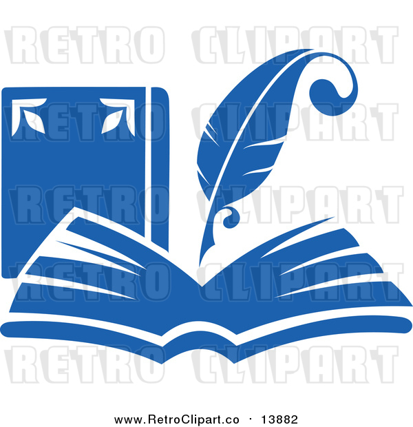 Vector Clipart of a Retro Blue Quill Pen Writing in an Open Book