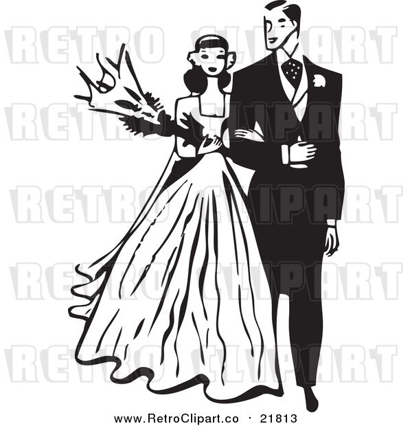Vector Clipart of a Retro Bride and Groom Walking Arm in Arm
