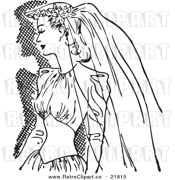Vector Clipart of a Retro Bride in a Veil and Dress