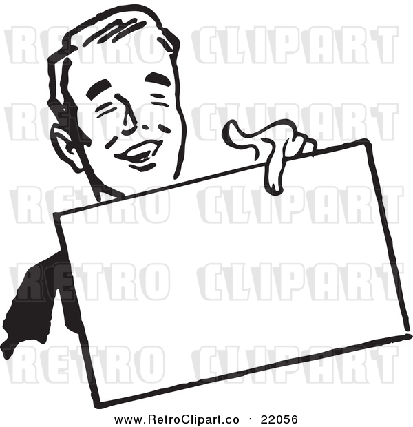 Vector Clipart of a Retro Business Man Holding out a Blank Sign