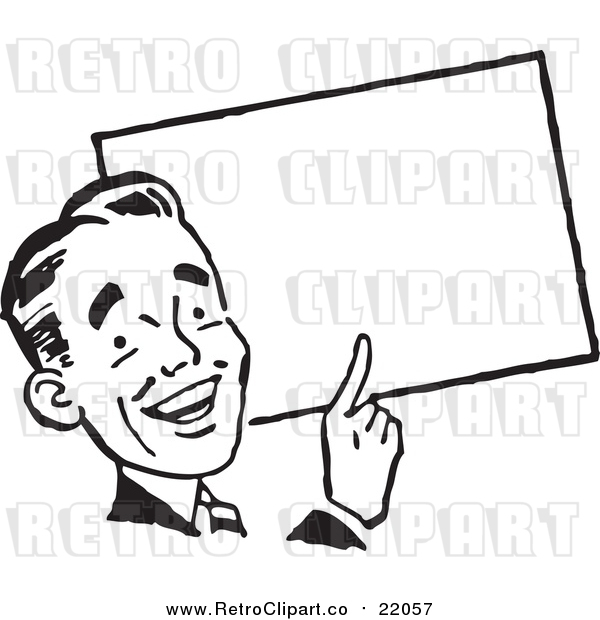 Vector Clipart of a Retro Business Man Pointing to a Blank Sign
