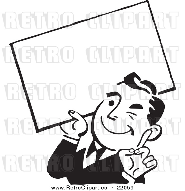 Vector Clipart of a Retro Business Man Winking and Holding a Blank Sign