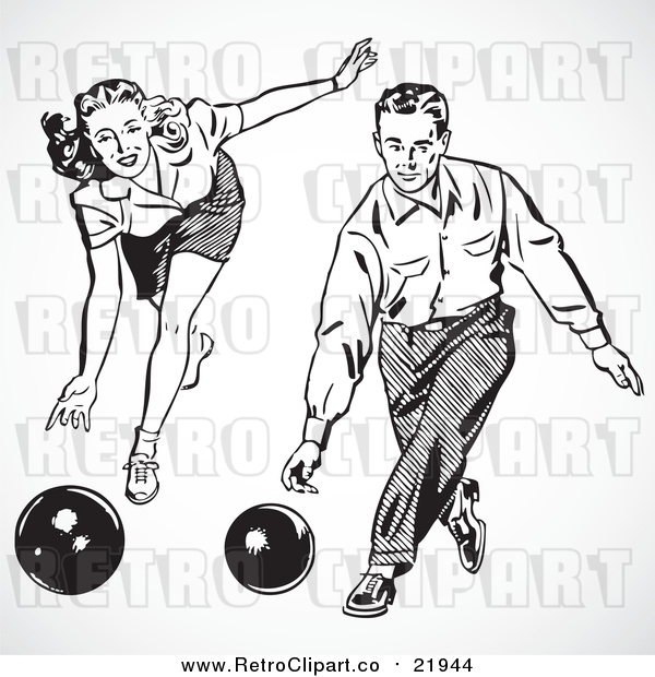 Vector Clipart of a Retro Couple Bowling