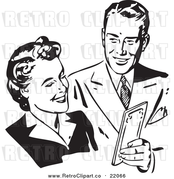 Vector Clipart of a Retro Couple Sharing Money