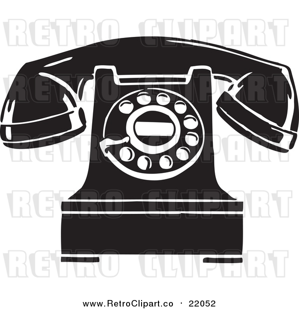 Vector Clipart of a Retro Desktop Telephone