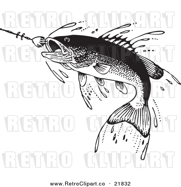 Vector Clipart of a Retro Fish Swimming Towards a Lure