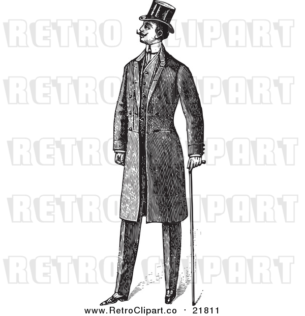 Vector Clipart of a Retro Gentleman with a Cane