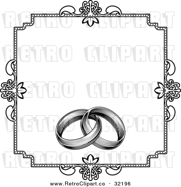 Vector Clipart of a Retro Invitation with Wedding Rings - Black and White