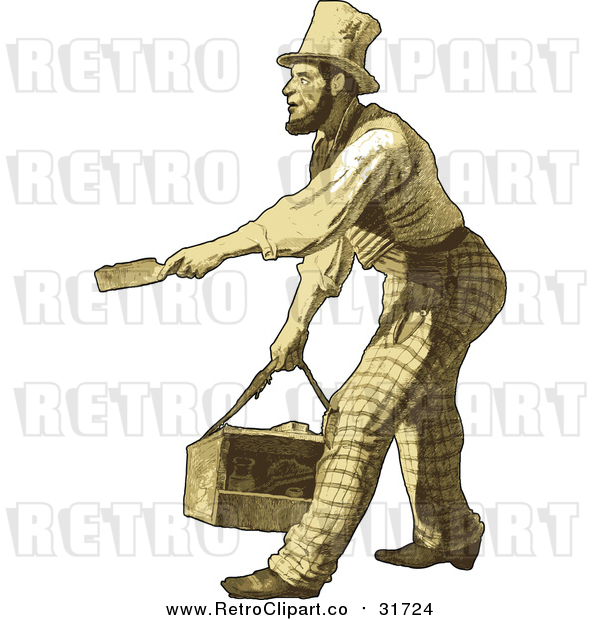 Vector Clipart of a Retro Male Shoeshiner