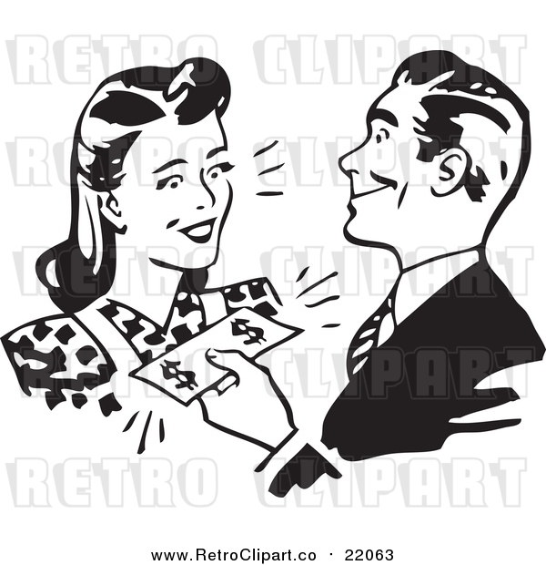 Vector Clipart of a Retro Man Handing Cash to a Woman