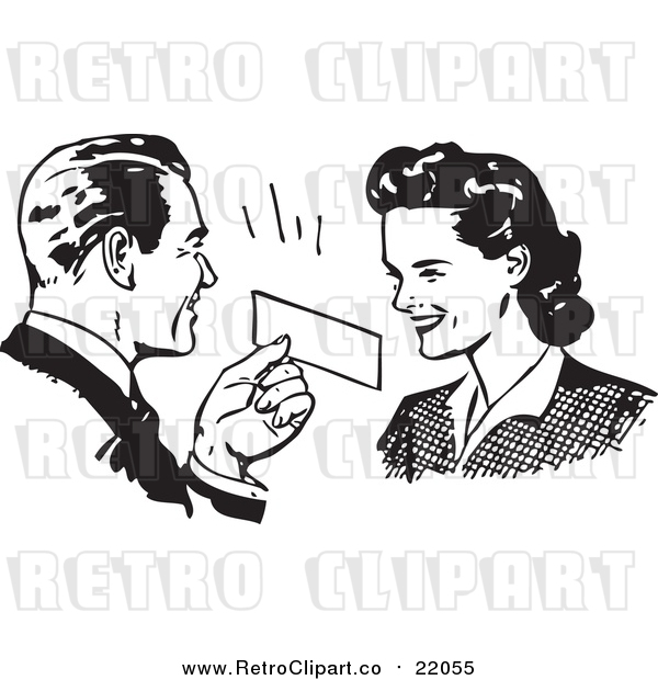Vector Clipart of a Retro Man Presenting a Coupon to a Woman