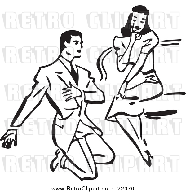 Vector Clipart of a Retro Man Proposing to a Woman