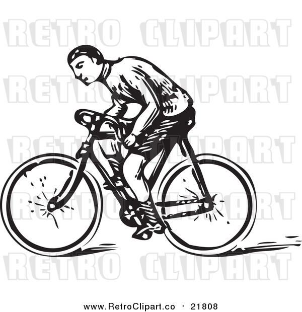 Vector Clipart of a Retro Man Riding a Bicycle
