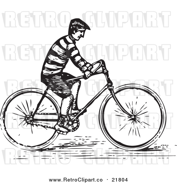 Vector Clipart of a Retro Man Riding a Bike