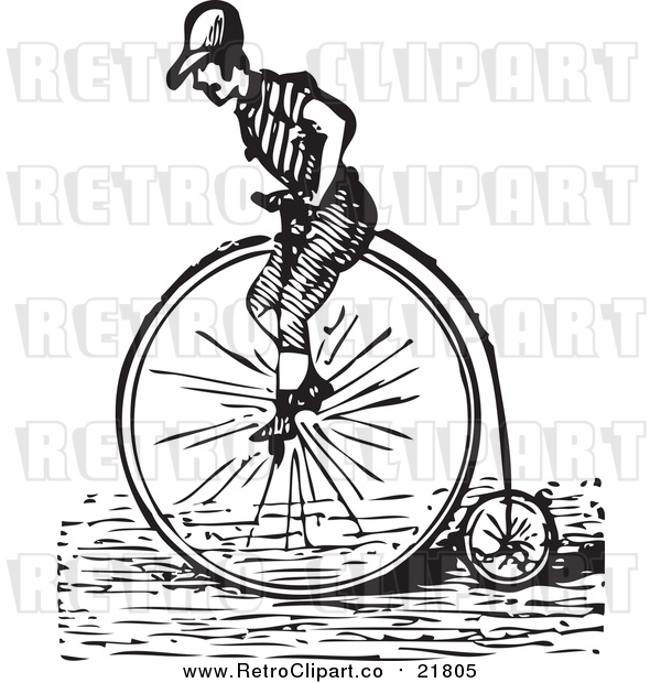 Vector Clipart of a Retro Man Riding a Penny Farthing Bicycle