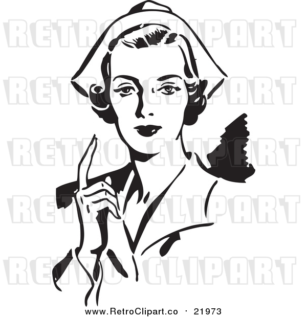 Vector Clipart of a Retro Nurse Holding up One Finger
