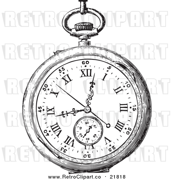Vector Clipart of a Retro Pocket Watch
