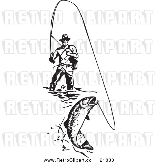 Vector Clipart of a Retro Wading Fisherman Reeling in a Fish