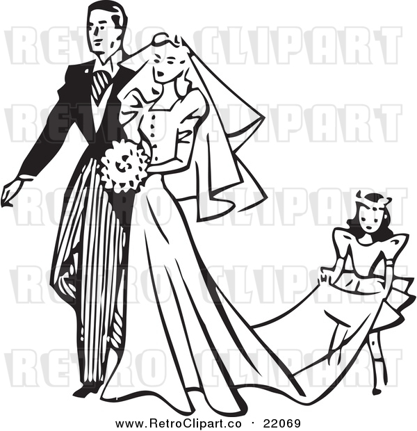 Vector Clipart of a Retro Wedding Couple