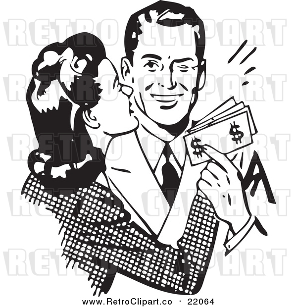 Vector Clipart of a Retro Wife Kissing Her Husband on the Cheek As He Hands Her Money